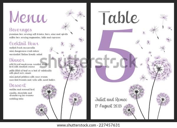 Set Floral Wedding Invitation Template Purple Stock Vector Royalty