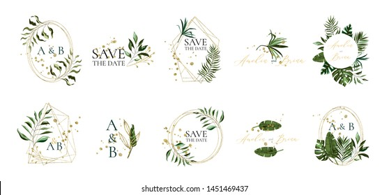 Set of floral wedding logos and monogram with elegant tropical exotic green leaves golden geometric triangular frame for invitation save the date card design. Botanical vector illustration