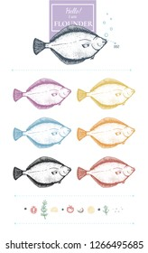 Set of flounder images. Unique hand-drawn silhouettes of flounder+lemon slices, black pepper, tomato, garlic, rosemary, salt. Yellow, grey, blue, green, red, orange. Vector. Isolated on white.