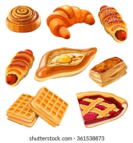 Set of flour products from bakery or pastry shop. Vector illustration