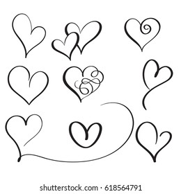 set of flourish calligraphy vintage hearts. Illustration vector hand drawn EPS 10