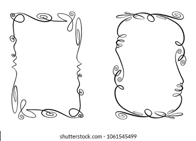 Set of Flourish Vector Frames. Collection of Rectangles with squiggles, twirls and embellishments for image and text elements. Hand drawn black highlighting borders isolated on the white background