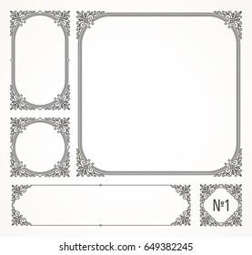 Set of flourishes calligraphic elegant ornamental frames - vector illustration. Identity design for cafe, shop, store, restaurant, boutique, hotel, heraldic, fashion or business card and etc.