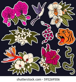 Set of flower and animal patches elements. Set of stickers, pins, patches and handwritten notes collection in cartoon 80s-90s comic style.Vector stikers kit