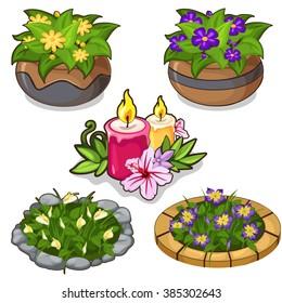 A set of flower beds and potted flowers for landscape design. Vector illustration.