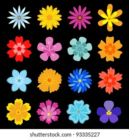 Set of flower blossoms for design and decoration. Jpeg version also available in gallery