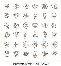 Set of flower and Botanical Icons line style. Included the icons as floral,  nature, bouquets, flowers, bloom And Other Elements. customize color,  easy resize.