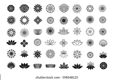 Set of flower design elements. Plant, blossom and lotus icons