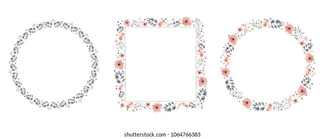 set of flower frames, vector, ornament, decorative frame, floral designs, decorative elements, circle frame, square frame, spring, flowers, buds, leaf, plants, flower decorations, wreaths, pink