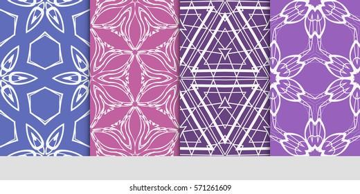 set of flower, GEOMETRIC seamless pattern. Arabesque. vector illustration. for design, invitation wedding, valentine's, background, wallpaper, interior