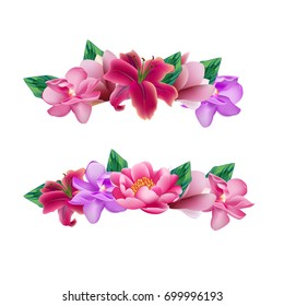 Set of flower head wreaths. Vector assets for your photo decoration.