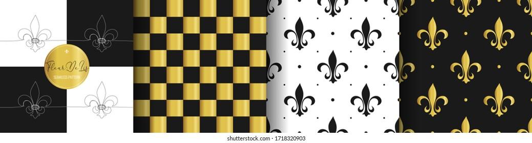 Set flower heraldic lily texture. Cell white, golden seamless pattern. Fleur de lis royal symbol textile print. Vintage black and white wallpaper bathroom decor ornament. Vector illustration