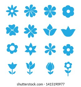 set of flower icon on white background