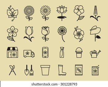 Set of Flower icon for flower shop.