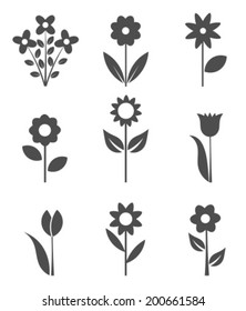 Set of flower icons. Vector illustration