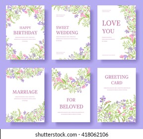 Set of flower invitation cards.