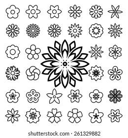 Set of flower line icons.Illustration eps10