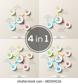 Set of flower petal diagrams or circular charts. Main circle with colorful arrows pointing at round elements and thin line pictograms placed around it. Infographic design layouts. Vector illustration.