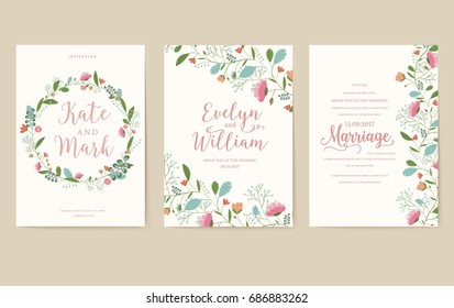 Set of flower wedding ornament concept. Art traditional, magazine, book, poster, abstract, element. Vector layout decorative ethnic greeting card or invitation design background.