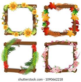 A Set of Flower Wooden Frame  illustration
