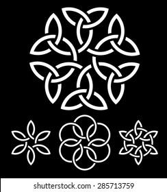A set of flower-like knots vector illustration for your design
