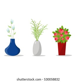 Set Of Flowerpots for House Interior.Decorative Flower And Vases.Vector Illustration Isolated.