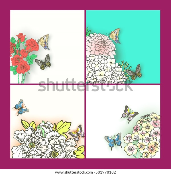 Set flowers and butterflies.greeting card garden, invitation card for wedding, vintage flowers composition. decorative background and text, vector illustration EPS10.