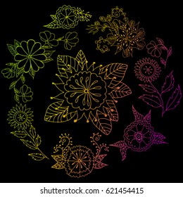 Set of flowers in a circle vector illustration of a contour gradient