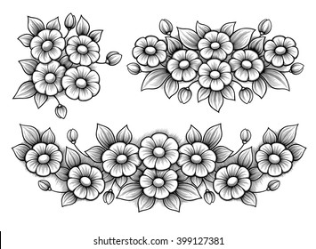 Set flowers daisy bunch vintage Victorian frame border monogram floral ornament leaf scroll engraved retro pattern decorative design tattoo black and white filigree calligraphic vector heraldic shield