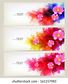 Set of flowers element and colorful blots. Design brochure template