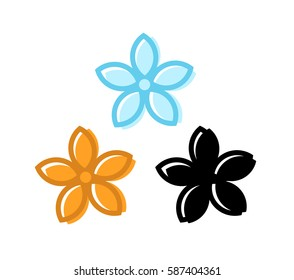 Set of Flowers with Five Petals. Simple Style Icon for Beauty and Spa Concept. Vector Icons in Orange, Blue and Black colors isolated on white Background.