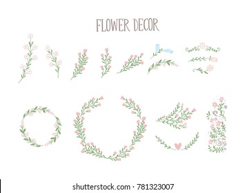 Set of flowers and floral decor