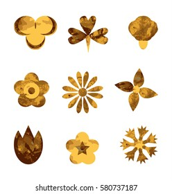 set flowers gold. Set of Vectorized Flowers. Set of flat icon flower icons in silhouette isolated on white. Cute retro design in bright colors for stickers, labels, tags, gift wrapping paper.