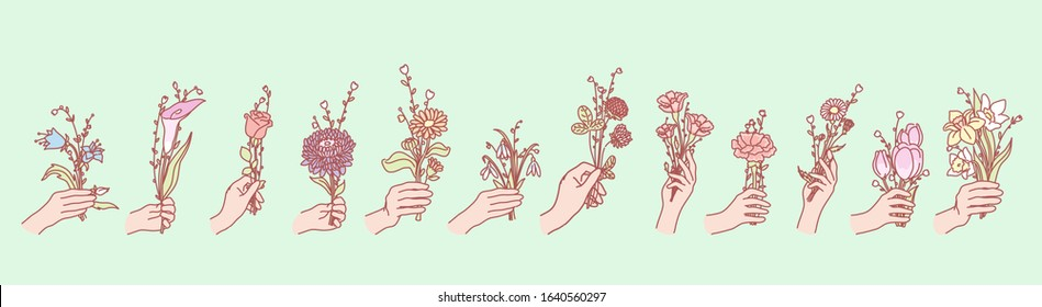 Set of flowers in hands concept. Illustration of bouquets or bunches of flowers, holding by mans or womans hands. Collection of field and garden blossoms gifting by humans hand. Floral design elements