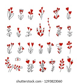 Set of flowers and hearts. Hand drawn black, red and white floral elements. Design for valentines day, wedding, birthay.