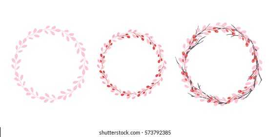 Set of flowers, leaves and branches, painted in watercolor, isolated on white. Sketched wreath, floral and herbs garland. Hand drawn vector watercolor.