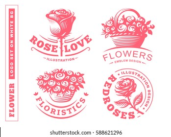 Set flowers logo - vector illustration, emblem design on white background.