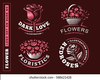 Set flowers logo - vector illustration, emblem design on dark background