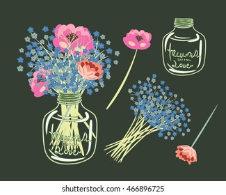 Set of Flowers in Mason Jar, Bouquet in the jar,Peonies,Forgetmenots,element vector for design