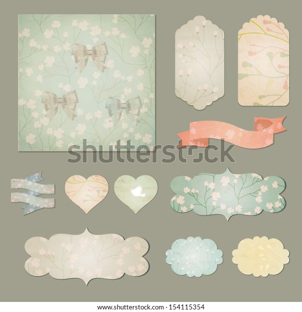 Set of flowers retro ribbons, old dirty paper textures and vintage labels, banners and emblems. Vector illustration
