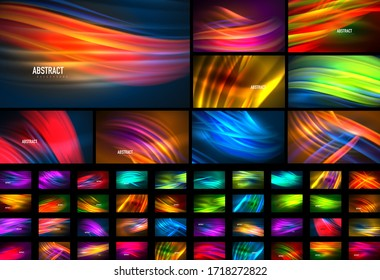 Set of fluid color wave line backgrounds. Trendy abstract layout templates for business or technology presentation, internet poster or web brochure cover, wallpaper