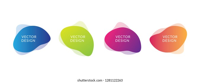 Set of fluid flow colorfull template with gradient blue, green, purple and orange for banner, poster, business card and flyer, vector design illustration