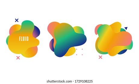Set of fluid gradient vector shapes. Design with blue, green colors