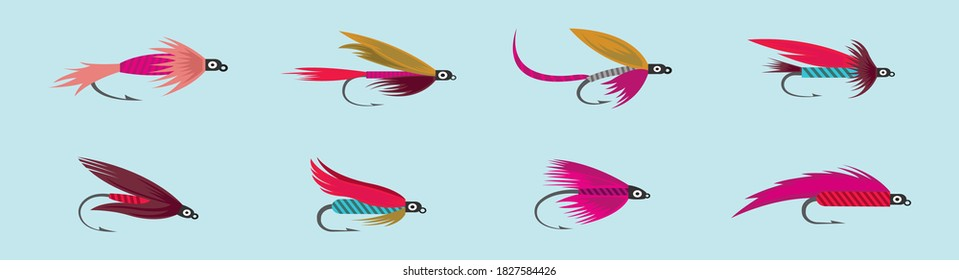 Set of fly fishing flies cartoon icon design template with various models. vector illustration isolated on blue background