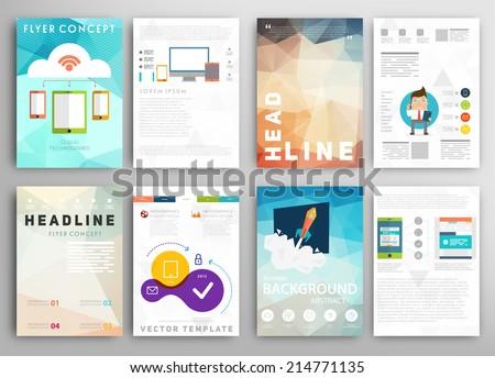 set flyer brochure design templates geometric のベクター画像素材