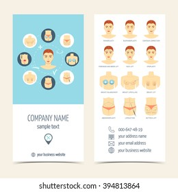 Set of flyer, brochure for plastic surgery. Set of promotional products. Flat design. Vector illustration