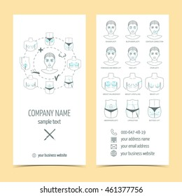 Set of flyer, brochure for plastic surgery with line icons. Set of promotional products. Flat design. Vector illustration