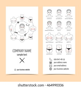Set of flyer, brochure for plastic surgery clinic with line icons. Set of promotional products. Flat design. Vector illustration