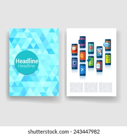 Set of Flyer Design, Web Templates. Brochure Designs, Technology Backgrounds. Mobile Technologies, Infographic and Applications covers. Modern flat design icons for mobile or smartphone.