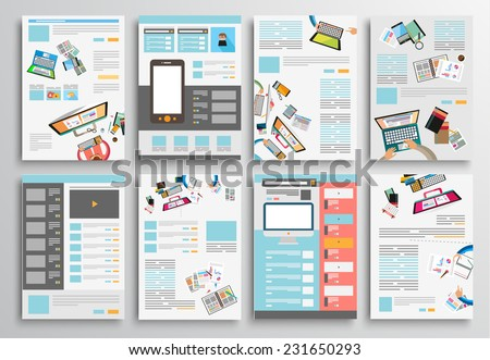 Set Flyer Design Web Templates Brochure Stock Vector Royalty Free - Brochure website templates